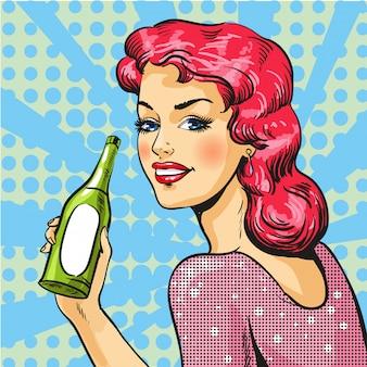 ポップアートスタイルでワインを持つ女性