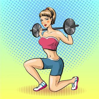 Молодая женщина делает фитнес со штангой в стиле поп-арт