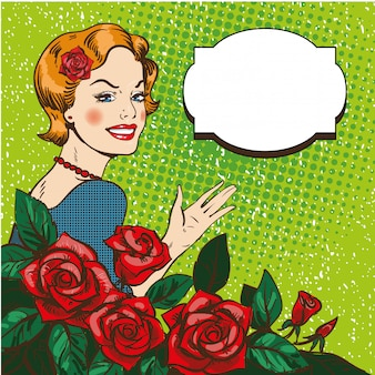 ポップアートスタイルのバラの花束を持つ女性