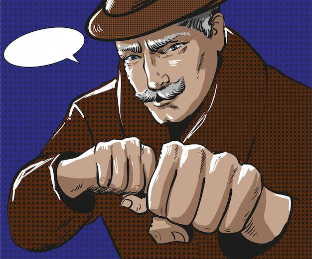 拳をパンチを持つ男のポップアートイラスト