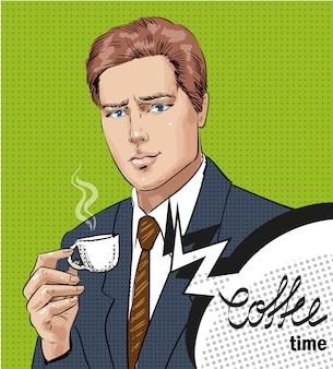 一杯のコーヒーを持つ男のポップアートイラスト