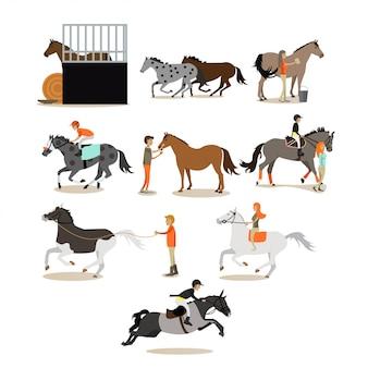 フラットスタイルの人々のキャラクターに乗って馬のセット