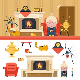 Векторный набор объектов интерьера гостиной дома. бабушка сидит в кресле рядом с камином.