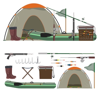 Векторный набор рыболовных объектов. удочка, лодка, палатка, ботинки, крючки.
