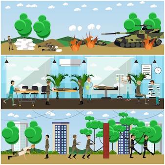 Набор военных плакатов, баннеров в плоском стиле