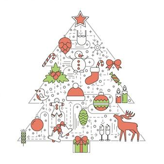 Рождественская елка вектор плоская тонкая линия