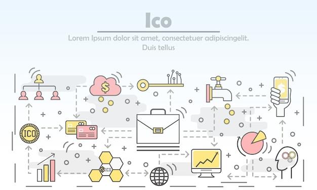 概念ベクトルフラットラインアートイラストを提供する初期コイン