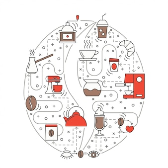 コーヒー豆フラットラインアートイラスト
