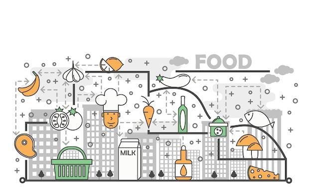 食品コンセプトフラットラインアートイラスト