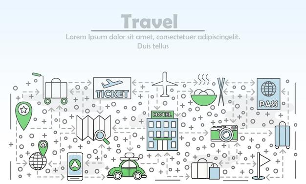 旅行広告フラットラインアートイラスト