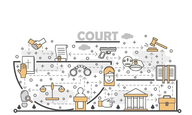 Векторная иллюстрация тонкая линия искусства суда