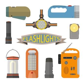 Векторный набор фонариков в плоском стиле. фара, ручная лампа, фонарик.