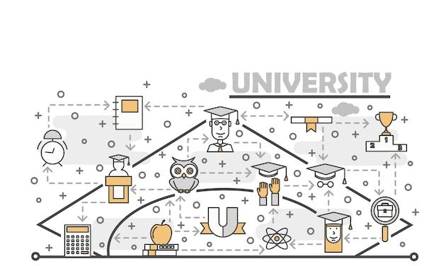 Векторная иллюстрация тонкая линия художественного университета