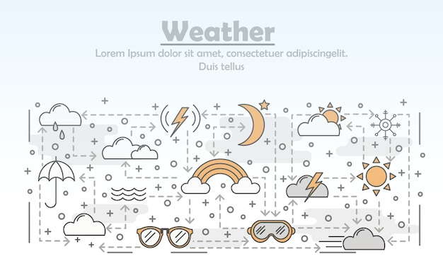 Векторная иллюстрация погоды тонкая линия искусства