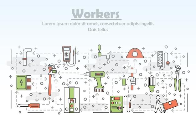 Векторная иллюстрация тонкая линия искусства работников