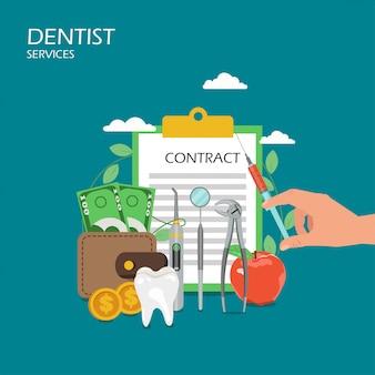 Услуги стоматолога плоский стиль