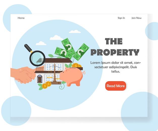 プロパティのウェブサイトのランディングページのデザインテンプレート