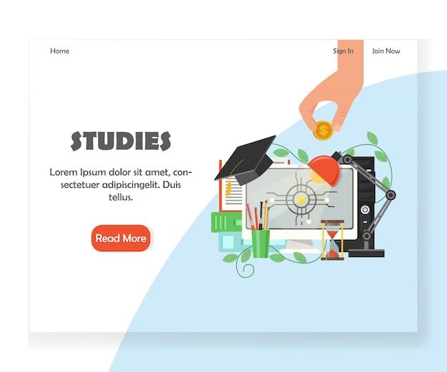 Шаблон дизайна целевой страницы образовательного сайта