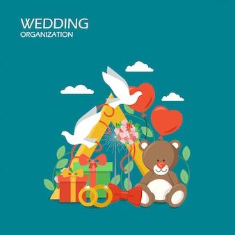 Свадебная организация плоский дизайн иллюстрация