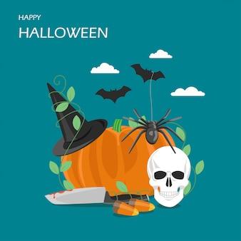 Счастливый хэллоуин векторная иллюстрация плоский стиль