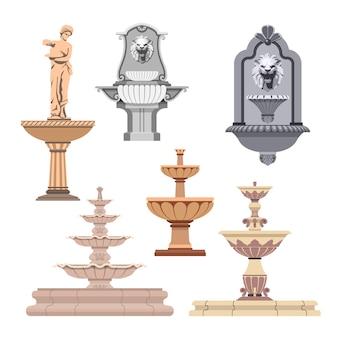 Векторный набор различных фонтанов. элементы дизайна