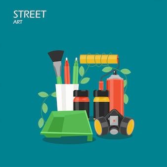 ストリートアートフラットスタイルの図