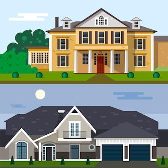 フラットスタイルのデザインの高級住宅外装ベクトル図。家の正面と庭。