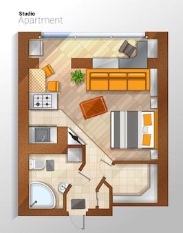 ベクトル現代スタジオアパートメントトップビューイラスト