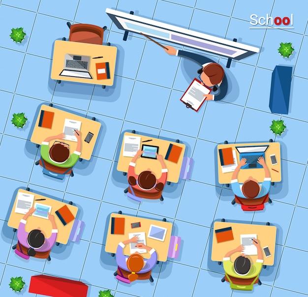 フラットスタイルのベクトルトップビュー学校概念図。