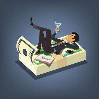 Успешный бизнесмен, пить коктейль и отдыхать на кучу денег. бизнес векторные иллюстрации концепции в мультяшном стиле
