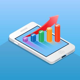 金融棒グラフとスマートフォン。アイソメ図スタイルのビジネスと金融の概念ベクトル図