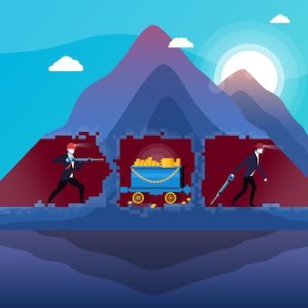 Иллюстрация деловых людей в шахте с золотом