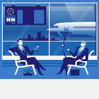 空港で待っているビジネス人々のイラスト