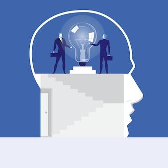 Векторная иллюстрация бизнесменов, держась за идею лампы