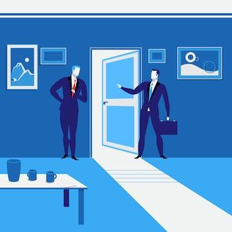 開いたドアに立っているビジネスマンのベクトルイラスト。