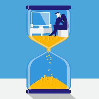 時間はフラットスタイルのお金の概念ベクトル図です。