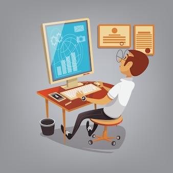 オフィスのコンピューターでの作業で忙しい男
