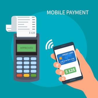 Мобильные платежи с изображением смартфона