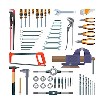 フラットスタイルの作業工具のベクトルを設定します。デザイン要素が分離されました。建設と家の修理タップホルダーとねじ切りダイス。