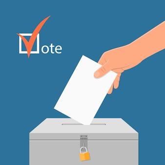 選挙日の概念図。投票箱に投票用紙を置く手。フラットスタイルの投票の概念。