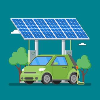 ソーラーパネルの前の充電ステーションで充電する電気自動車。フラットスタイルのイラスト。エコ輸送の概念の背景。