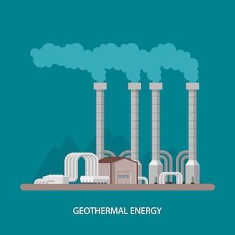 地熱発電所および工場。地熱エネルギー産業のコンセプト。フラットスタイルのイラスト。地熱発電所の背景。再生可能エネルギー源。