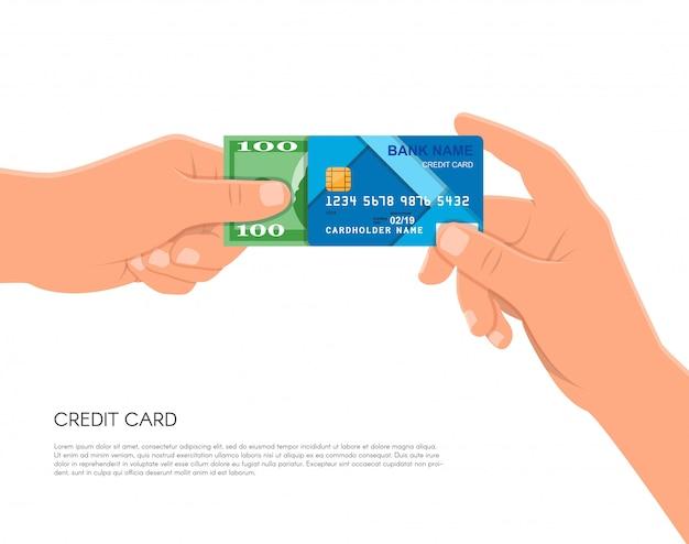 銀行のクレジットカードと現金お金を持っている人間の手。金融ビジネス支払いコンセプト