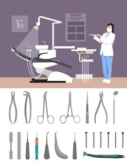 フラットスタイルの歯科医院インテリアベクトル図です。歯科用ツールが分離されました。病室で看護師します。オフィス、デンタルチェア、医者、器具。