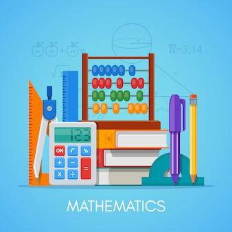 フラットスタイルデザインの数学科学教育コンセプトポスター。