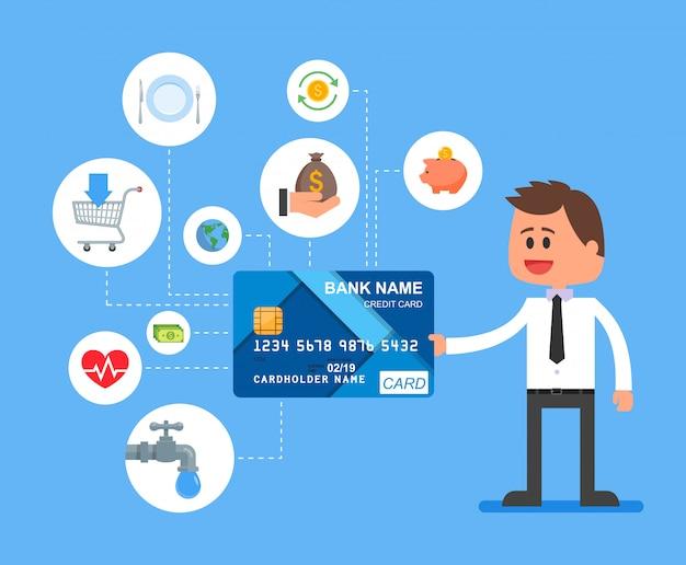 Иллюстрация платежей кредитной картой в плоском стиле.