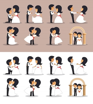 異なる姿勢で夫婦を結婚しました。フラットスタイルのベクトル図です。結婚式のカップル。