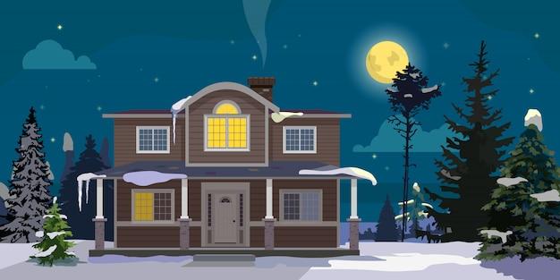 大きな家と森のある冬景色。月、星、木々と雲との夜。ベクトル漫画の実例。