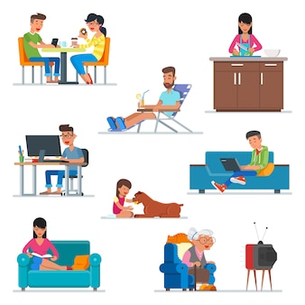 フラットスタイルのデザインの人々の漫画のキャラクターのセット。カフェ、キッチンで料理をしている女性、コンピューターで作業する人、犬と遊ぶ女の子のカップル。人のアイコン