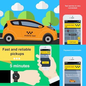 Приложение для мобильного телефона, чтобы заказать такси. иллюстрация в плоском дизайне.